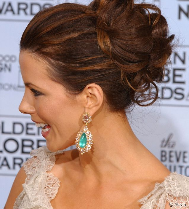 chignon ondulé Kate Beckinsale